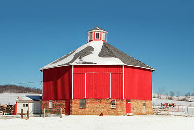 Photograph - Round Barn On Snow by Todd Klassy