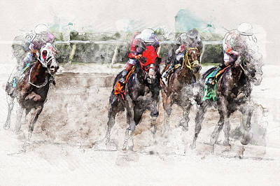 Mixed Media - Rounding The Final Turn by Cyndy Doty