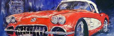 Sports Paintings - Route 66 by Alan Metzger