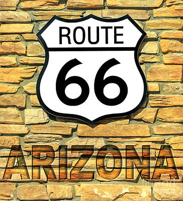 Photograph - Route 66 Arizona Sign by Benny Marty