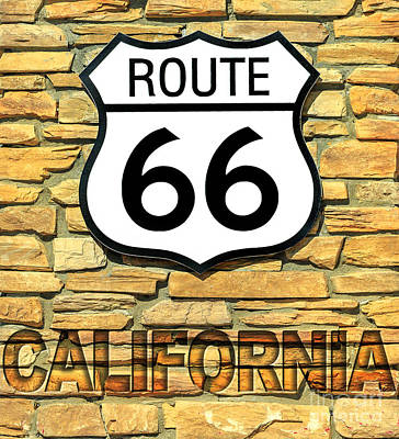 Photograph - Route 66 California Sign by Benny Marty