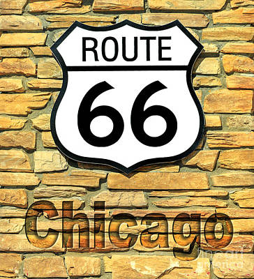 Photograph - Route 66 Chicago Sign by Benny Marty