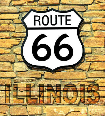 Photograph - Route 66 Illinois Sign by Benny Marty