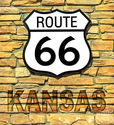 Photograph - Route 66 Kansas Sign by Benny Marty