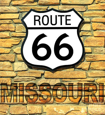 Photograph - Route 66 Missouri Sign by Benny Marty