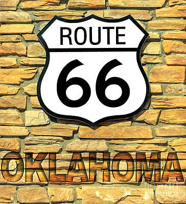 Photograph - Route 66 Oklahoma Sign by Benny Marty