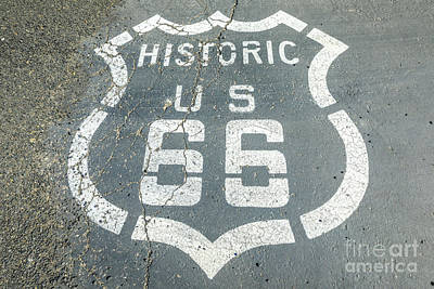 Photograph - Route 66 Pavement Street Sign by Benny Marty