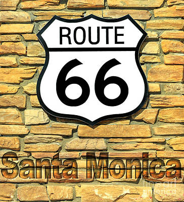Photograph - Route 66 Santa Monica Sign by Benny Marty