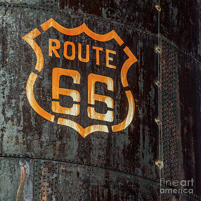 Photograph - Route 66 Sign - Old Fuel Storage Tank - Arizona by Gary Whitton