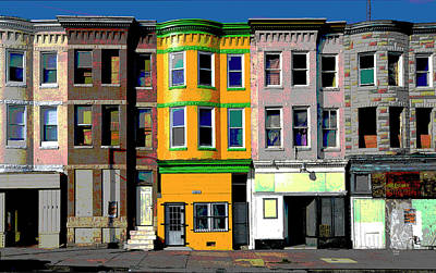 City Sunset Mixed Media - Row Houses Baltimore by Charles Shoup