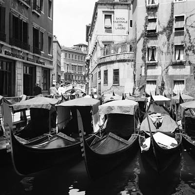 Photograph - Row Of Gondolas At Venise In Italy On by Keystone-france