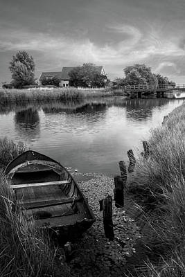 Photograph - Rowboat At Sunset In Black And White by Debra and Dave Vanderlaan