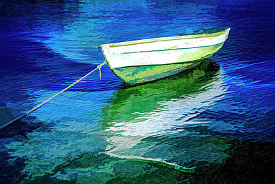 Photograph - Rowboat In Blues Abstract Art by Debra and Dave Vanderlaan