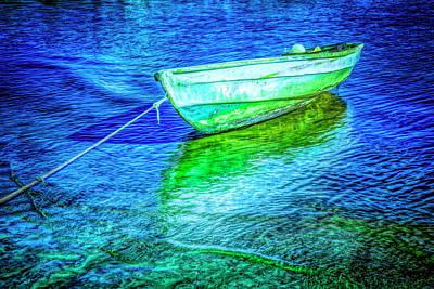 Photograph - Rowboat In Vivid Blues by Debra and Dave Vanderlaan