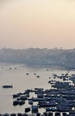 Ganges Photograph - Rowing Boats On Ganges River by Jessica Solomatenko