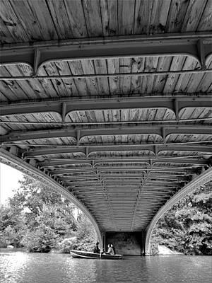 Photograph - Rowing Under Bow Bridge B W by Rob Hans