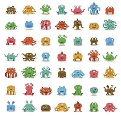 Digital Art - Rows Of Cute Monsters by Zeptonn