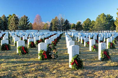 Photograph - Rows Of Wreaths And Headstones by Tony Hake