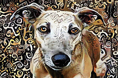 Digital Art - Roxie The Greyhound by Peggy Collins