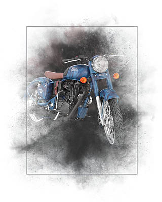 Mixed Media - Royal Enfield Classic 500 Squadron Blue Painting by Smart Aviation