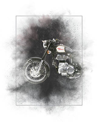Mixed Media - Royal Enfield Classic Black Painting by Smart Aviation