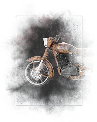 Mixed Media - Royal Enfield Classic Desert Storm Painting by Smart Aviation
