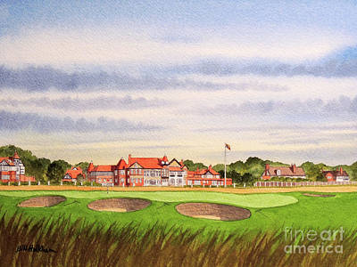 Sports Paintings - Royal Liverpool Golf Course 18th Hole by Bill Holkham