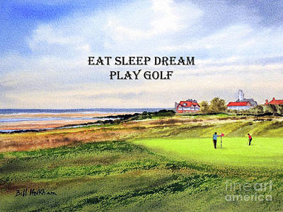 Sports Paintings - Royal Liverpool Golf Course Hoylake with banner by Bill Holkham