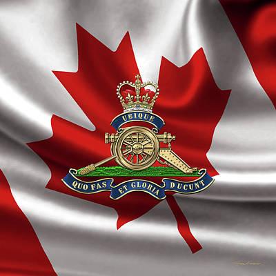 Digital Art - Royal Regiment Of Canadian Artillery  - Rca Badge Over Waving Flag by Serge Averbukh