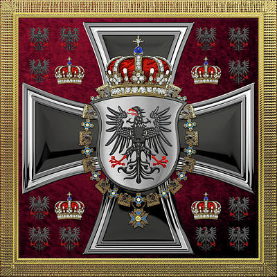 Digital Art - Waving Royal Standard Of The King Of Prussia 1844-1871  by Serge Averbukh
