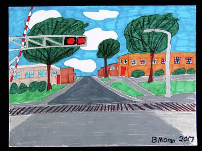 Drawing - Rr Crossing by Barb Moran