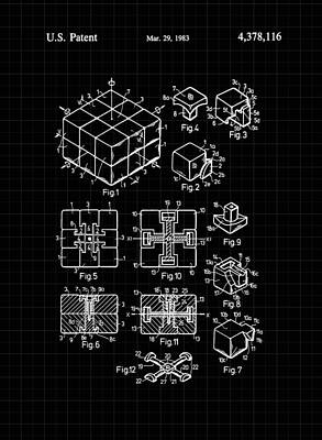Digital Art - Rubik's Cube Patent 1983 - Black And White by Marianna Mills