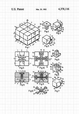 Digital Art - Rubik's Cube Patent 1983 by Marianna Mills