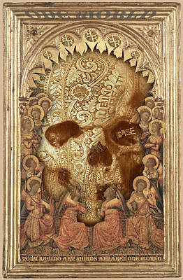 Painting - Rubino One World No Fear Gold Skull by Tony Rubino