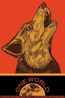 Painting - Rubino Wolf Dog Love One World by Tony Rubino