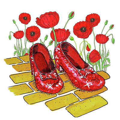 Baum Wall Art - Painting - Ruby Slippers Red Poppies Wizard Of Oz by Irina Sztukowski
