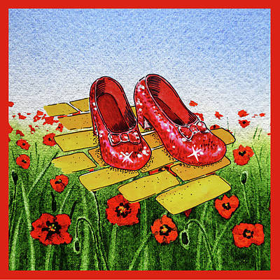 Baum Wall Art - Painting - Ruby Slippers Yellow Brick Road Wizard Of Oz by Irina Sztukowski