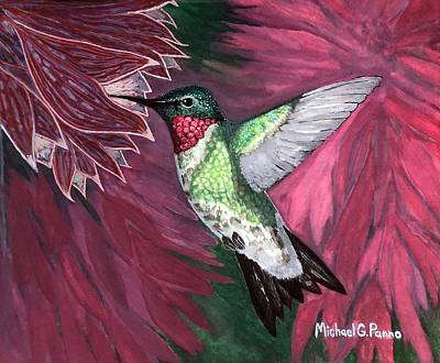 Animals Paintings - Ruby Throated Hummingbird by Michael Panno