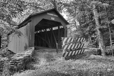 Photograph - Roddy's Mill Covered Bridge Black And White by Adam Jewell