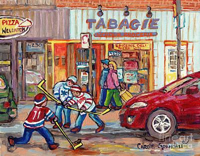 Painting - Rue Wellington Verdun Montreal Winter Scene Painting Tabagie Pizza Shop Hockey Art C Spandau Artist  by Carole Spandau