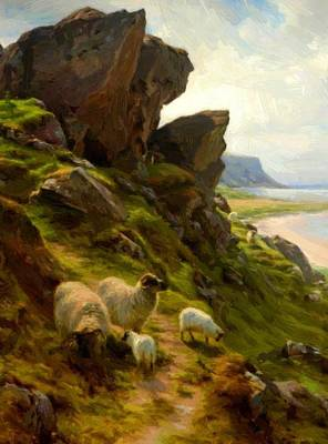 Joseph Farquharson Wall Art - Painting - Rugged Pasture by Farquharson Joseph