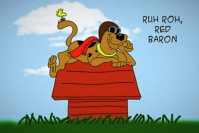 Digital Art - Ruh Roh Red Baron by John Haldane