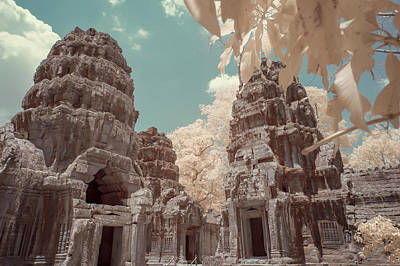 Beach House Signs - Ruins of Ta Prahm in infrared by Karen Foley