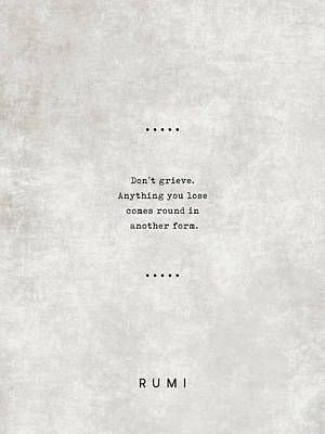 Royalty-Free and Rights-Managed Images - Rumi Quotes 04 - Literary Quotes - Typewriter Quotes - Rumi Poster - Sufi Quotes by Studio Grafiikka