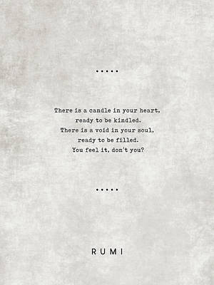 Royalty-Free and Rights-Managed Images - Rumi Quotes 11 - Literary Quotes - Typewriter Quotes - Rumi Poster - Sufi Quotes - Heart and Soul by Studio Grafiikka