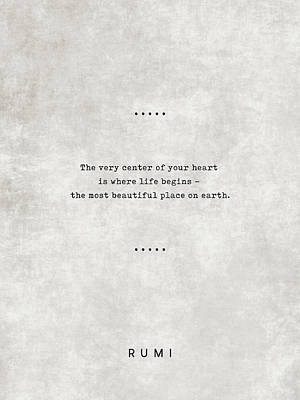 Royalty-Free and Rights-Managed Images - Rumi Quotes 20 - Literary Quotes - Typewriter Quotes - Rumi Poster - Sufi Quotes - Heart by Studio Grafiikka