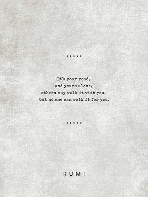 Royalty-Free and Rights-Managed Images - Rumi Quotes 21 - Literary Quotes - Typewriter Quotes - Rumi Poster - Sufi Quotes - Road by Studio Grafiikka