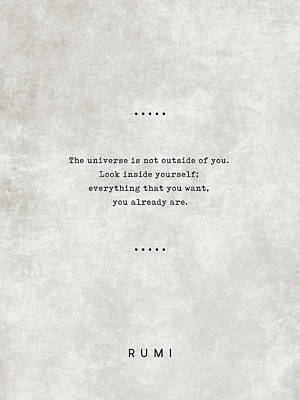 Royalty-Free and Rights-Managed Images - Rumi Quotes 22 - Everything that you want, you already are -  Typewriter Quotes - Sufi Quotes by Studio Grafiikka