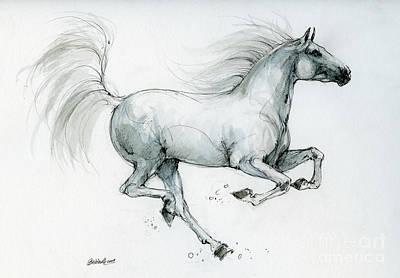 Animals Drawings - Running horse 2019 09 06 by Angel Ciesniarska