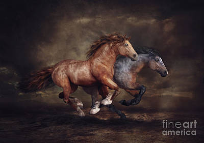Digital Art - Running Horses by Shanina Conway